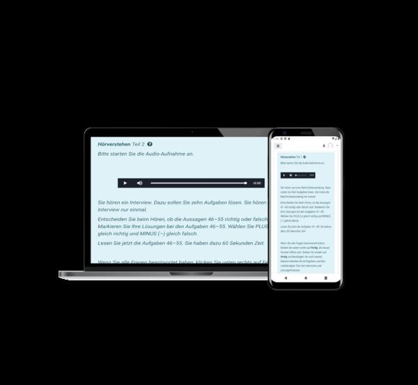 Aufgaben Hörverstehen telc B2,C1, Handy, online Unterricht